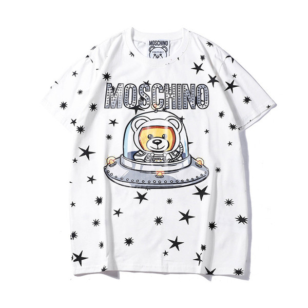Chegada nova Verão Designer T Camisas Dos Homens Tops Carta Urso Impresso Marca T Camisa Moda Mens Top Vestuário Solto Tees de Manga Curta de Luxo
