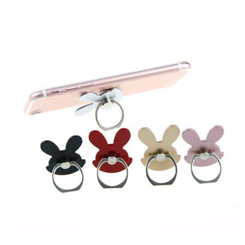 Soporte universal para teléfono con diseño de conejo 360 grados de metal anillo de dedo teléfono móvil soporte de teléfono inteligente soporte para iPhone Samsung huawei