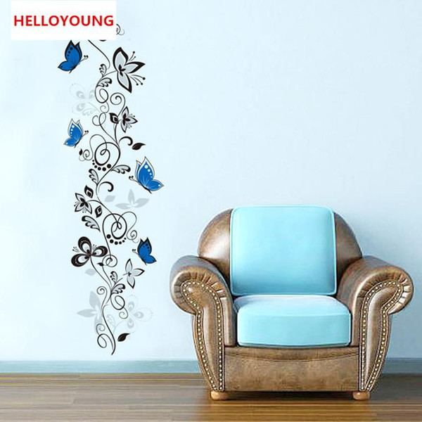 DIY Wall Sticker Black Flower Vine Wallpapers Art Mural Waterproof Bedroom Removable Wall Stickers Home Decor Backdrop