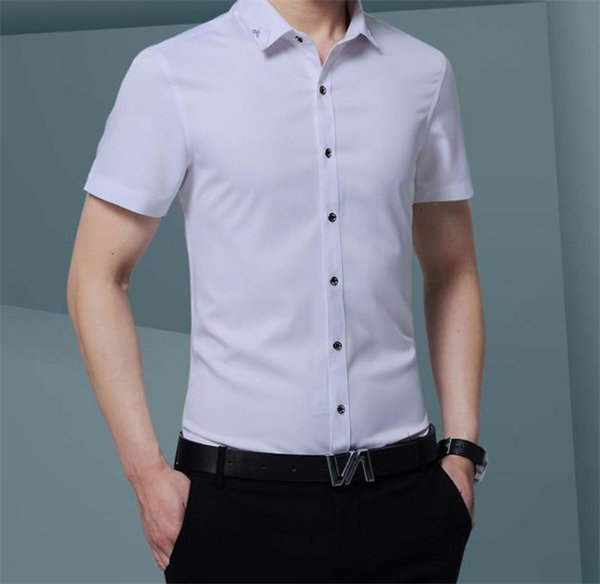 Fashion Solid Mens Designer Dress Shirts Short Sleeve Mandarin Collar Mens Shirts Casual Teenager Spring Clothing
