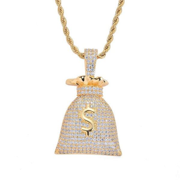 hip hop money bag diamonds pendant necklaces for men women Dollar currency symbol pouch necklace western real gold plated luxury jewelry