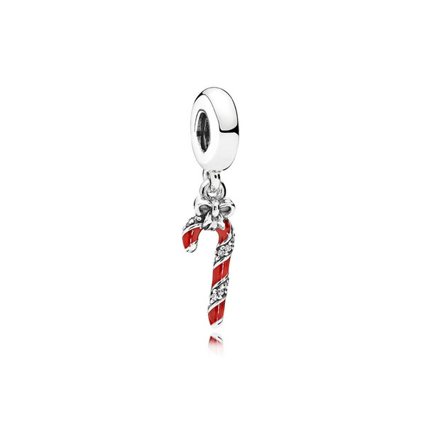 NEW 100% 925 Sterling Silver 1:1 796382EN39 SPARKLING CANDY CANE HANGING CHARM Original Women Wedding Fashion Jewelry