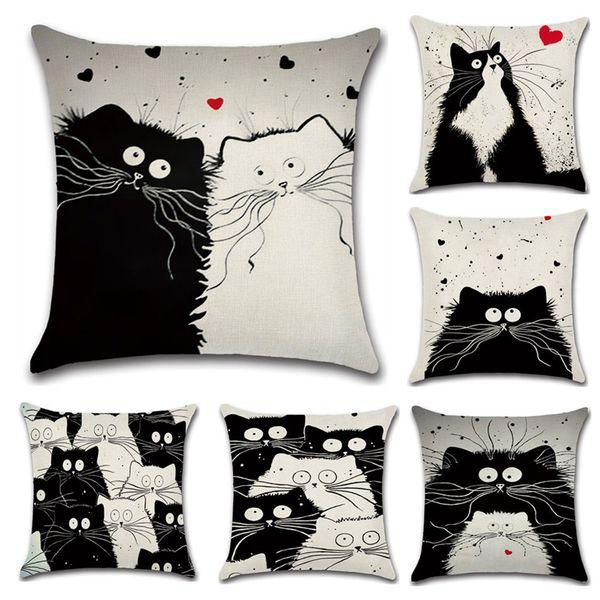 Neue Cartoon Katze Leinen Kissenbezug 45X45 cm Kissenbezug Hause Dekorative Kissenbezug Für Sofa Auto Cojines Kissen Kissenbezüge