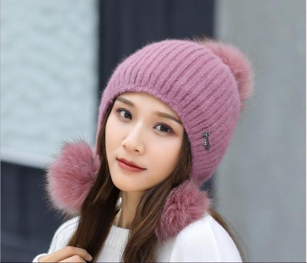 Hat lady autumn winter tide knit hat casual fashion joker sweet lovely ball warm rabbit hair hat