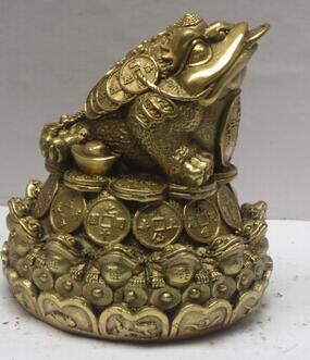 Copper Crafts decoration Fine Buddha Brass Chinese brass Carved Coin Toad Statue Home Decoration Feng Shui Metal Frog Scupture