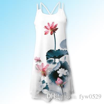 newf Femmes d'été vintage manches imprimé floral 3D Bohe réservoir Short Mini robe