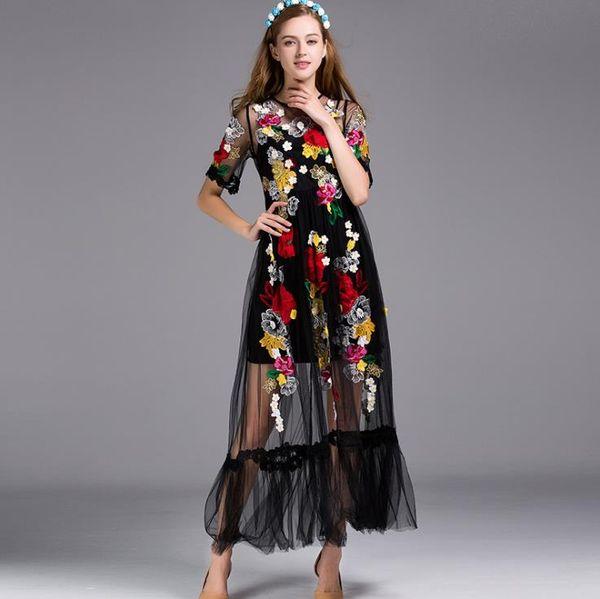 128 2019 весна лето вышивка платье подиум платье Флора длинным рукавом панелями Империя экипажа сетки полиэфира шеи мода ый