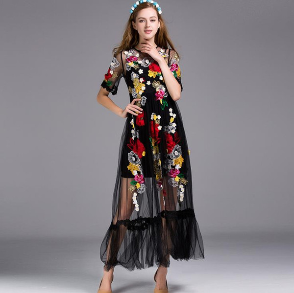 128 2019 Primavera Verano Vestido bordado Vestido de pista Flora Manga larga Con paneles Imperio Poliéster Malla Cuello redondo Moda YY