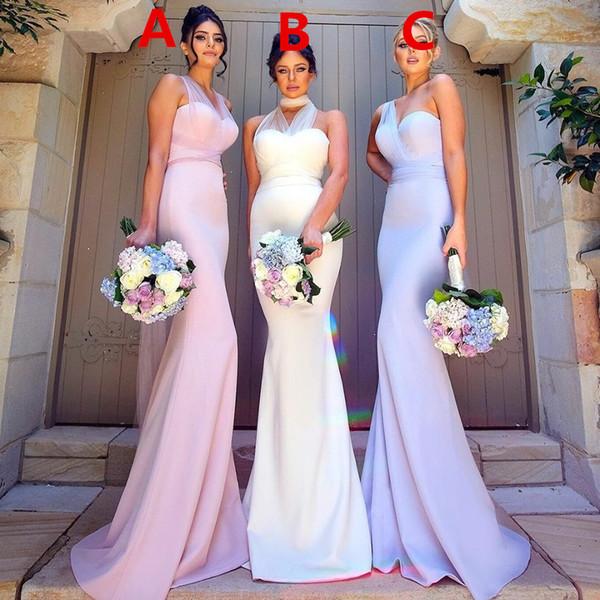 2020 New Rose sirène de demoiselle d'honneur Robes Différents styles même couleur col montant mariage Guest Dresses pas cher longue fête de robes de soirée