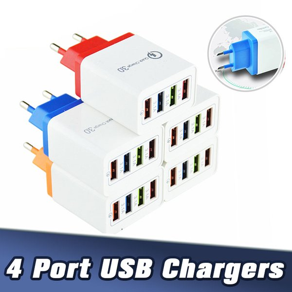 top popular QC3.0 4 Ports USB Wall Charger 5V 3A EU US Plug Fast Travel Adapter For Samsung S8 Note10 LG Sony 2021