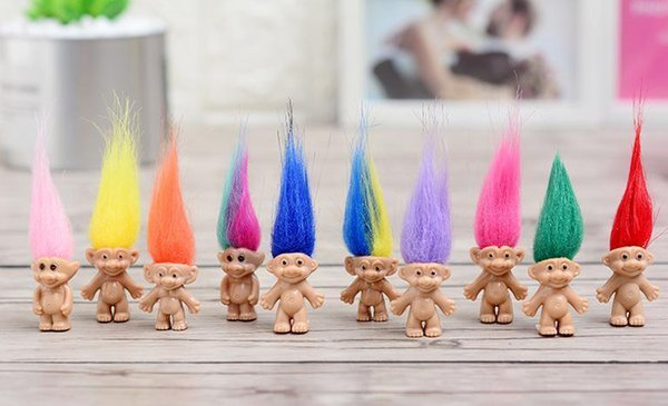 top popular Colorful Hair Troll Doll Family Members Daddy Mummy Baby Boy Girl Leprocauns Dam Trolls Toy Gifts Happy Love Family 2021