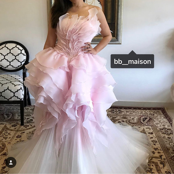 Pink Luxurious Stylish African 2019 Dubai Evening Dresses Strapless Organza Mermaid Prom Dresses Gorgeous Formal Party Bridesmaid Gowns