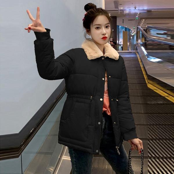 Imitation Laine d'hiver Lapel Femme Manteaux 2019 Taille coréenne plus court coton manteau chaud vers le bas Fashion girl élégante étudiant Outwear