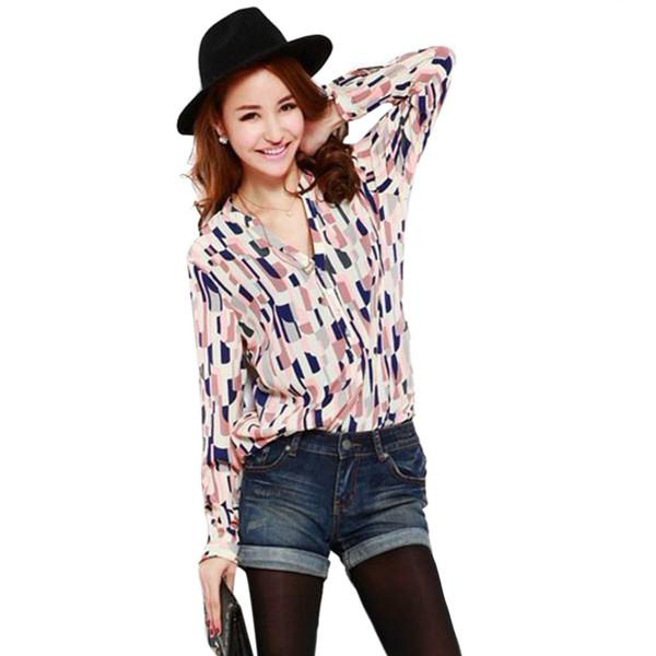 Yeni Sonbahar Tığ Bluz Kariyer Düğme Aşağı kadın Gömlek Tops Turn-down Yaka Geometrik Baskı Uzun Kollu Bluz