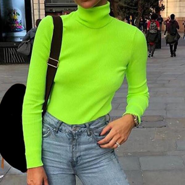 Fluoreszierende Grün Gestrickte Pullover Shirts Frauen Rollkragen Langarm Pullover Weibliche Club Frühling Sexy Elastische Jumper Tops