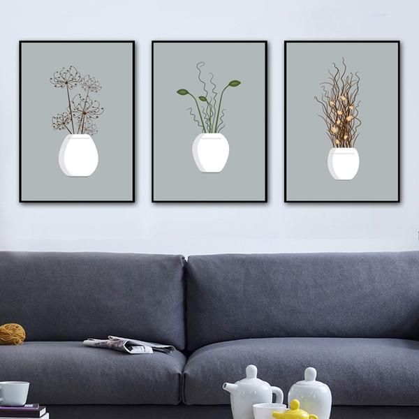 Gohipang Planta en maceta Flor Arte de la pared Pintura en lienzo Nordic Posters and Prints Wall Pictures For Living Room Impresión en lienzo