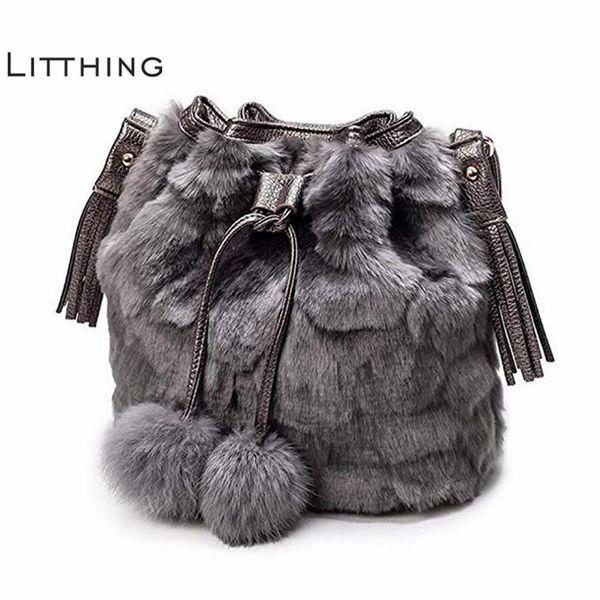 Moda Feminina Bolsa de Ombro Senhoras Negras Crossbody Bag de Pelúcia Estampa de Leopardo Faux Fur Hairy Feminino Tote Bags Para As Mulheres 2018 J190513
