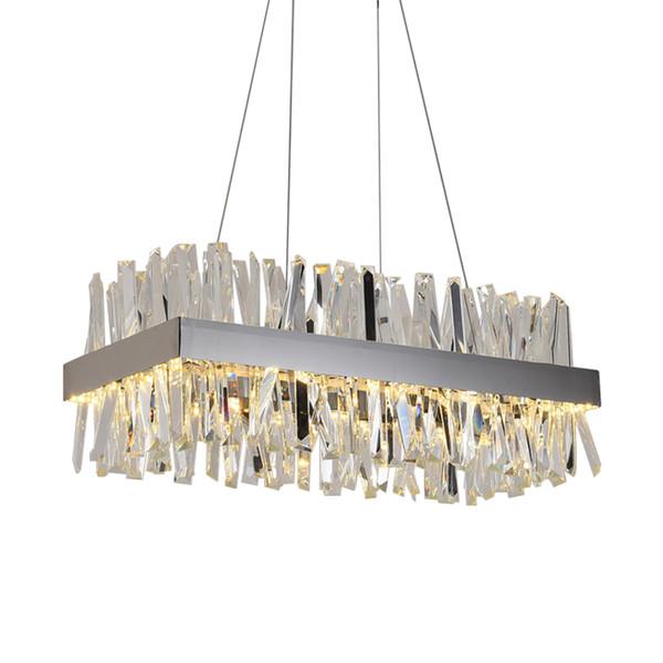 Luxury Rectangle Crystal Chandelier For Dining Room Kitchen Island Lamps Hanging Modern Led Chandeliers Indoor Lighting Fixtures Entryway Chandelier