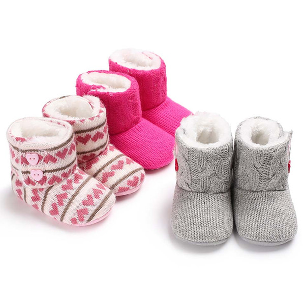 Мода Baby Girl обувь зима малыши вязание Первого Walker Шпаргалка Обувь для новорожденных мягких подошвы сапог младенческих мальчиков Обуви Сноу добычи