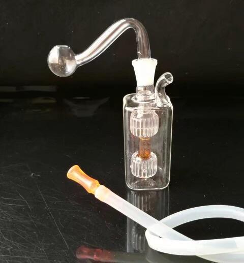 Mini deux tours de petits pots, Bongs de verre en gros, Conduites d'eau en verre pour brûleur à mazout, Accessoires de tuyau de fumée
