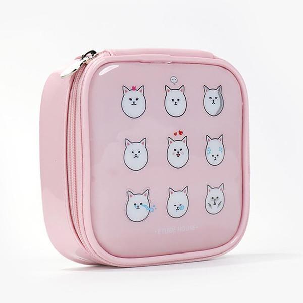 Wholetide- Women Pu Leather Large Capacity Cartoon Cosmetic Bags Makeup Bags Waterproof Cute Fashion Zipper Beauty Bags Travel Make Up Bag