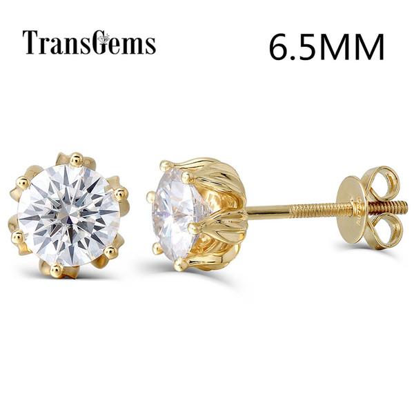 Transgems Flower Shaped 14k 585 Yellow Gold 2ctw 6.5mm Fgh Color Moissanite Diamond Stud Earrings For Women Screw Back For Women Y19052301