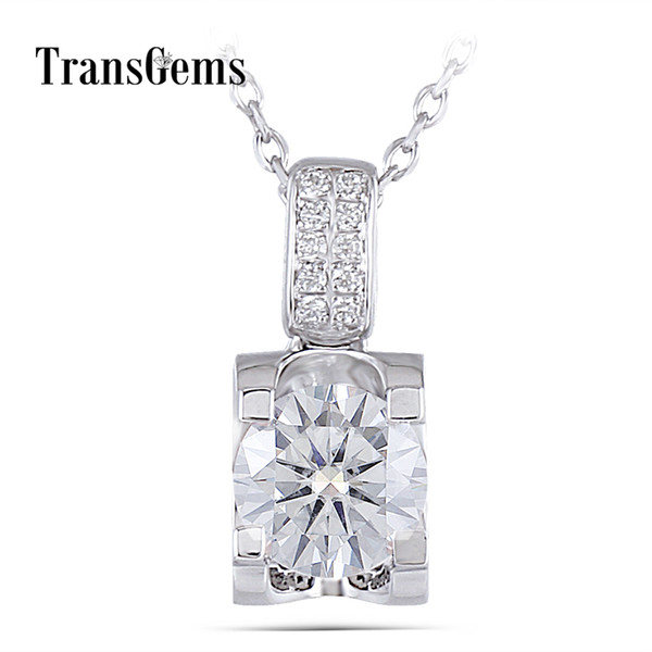 Transgems Moissanite Sterling Pendant Necklace For Women Platinum Plated Silver 1ct 6.5mm H Color Pendant Necklace With Accents J 190427