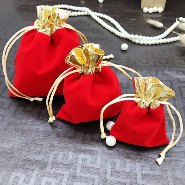 New 100pcs Gold Mouth Velvet Jewelry Bags 7x9 10x12 12x15cm Drawstring Wedding Christmas Gift Bags Watch Jewelry Packaging Bags