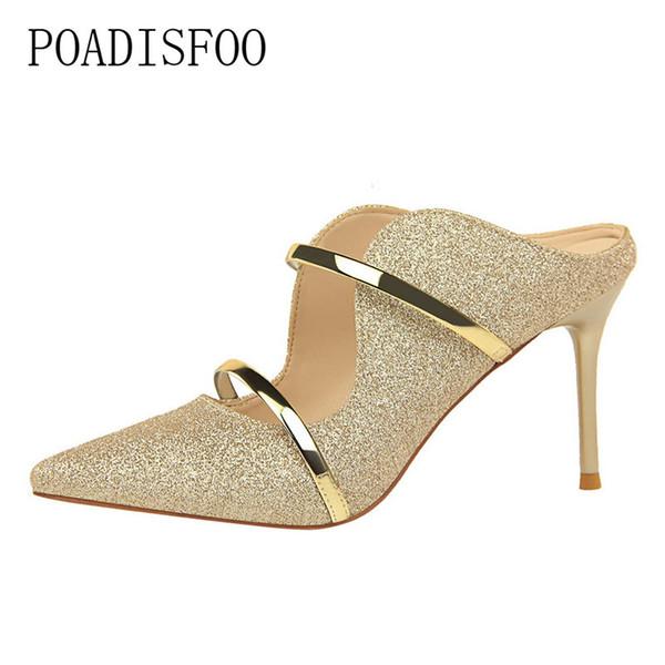 Designer de vestido sapatos POADISFOO moda sexy boate com palavra de pano de lantejoulas de salto alto com chinelos de verão fresco mulheres. DS-1788-1