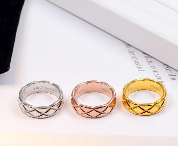 Designer de Moda Anel Banda 18 K Rosa de ouro Amarelo de ouro 925 de Prata Das Mulheres Dos Homens casais CCbrand Anéis de Noivado Casamento