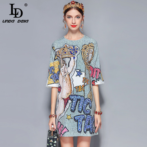 Ld Linda Della 2019 New Fashion Runway Summer Women's Retro Half Sleeve Gorgeous Diamonds Letter Printed Vintage Dress Q190419