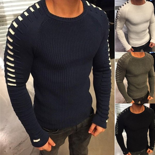 2019 2019 New Men'S Slim Casual Sweater Personality Fashion Woven Stitching Pullover Thick Sweater Male Brand Clothes T190826 From Chao03, $30.82  