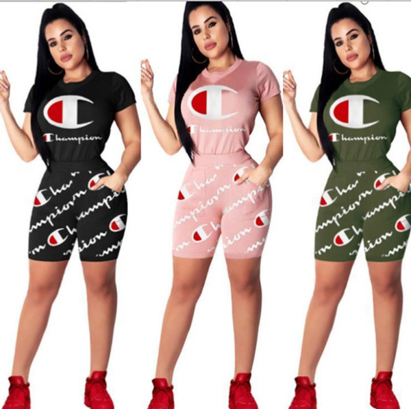 2019 Women Champions Letter Short Tracksuit Fashion Champ Summer Clothing Suit Printed T-shirt +shorts 2 Piece Set Casual Outfits Gym Suit