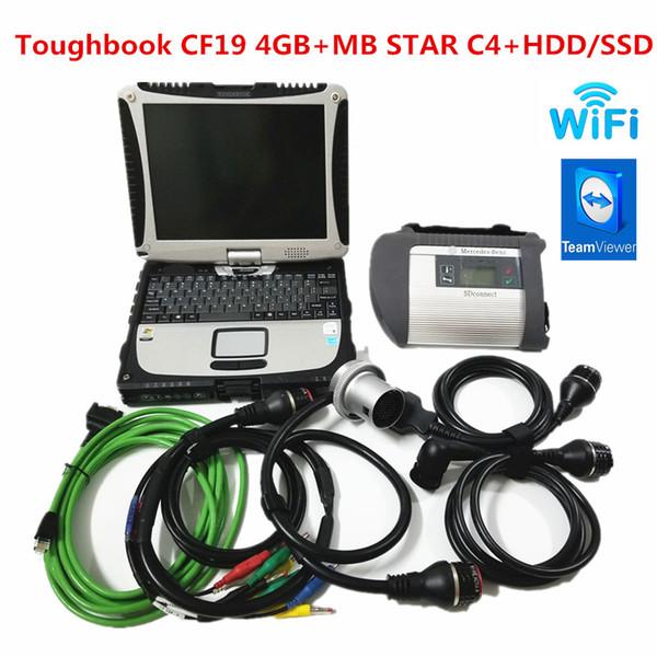 Alta Qualidade MB Estrela C4 SD Connect with V2019.09 Software HDD SSD Toughbook CF19 4GB de trabalho portátil para MB estrela c4 ferramenta de diagnóstico
