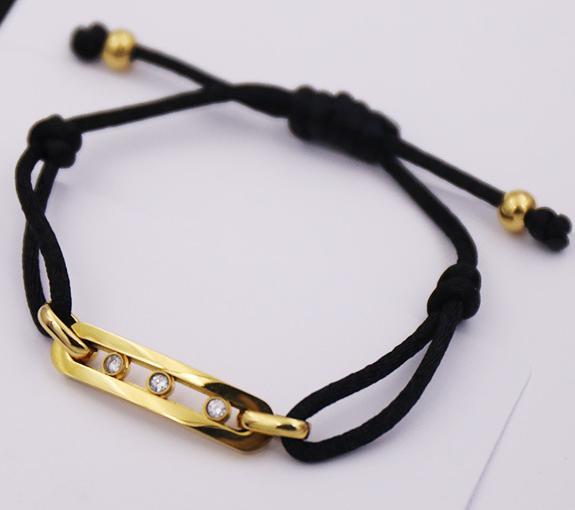 Simple Wind Movable Three Diamond Black Rope Telescopic Bracelet