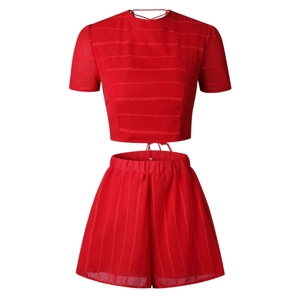 2PCS Shorts Lace Up Casual Fabala Co-ord Set Short Sleeve Back Lace Up Mini Jumpsuit Crop Top