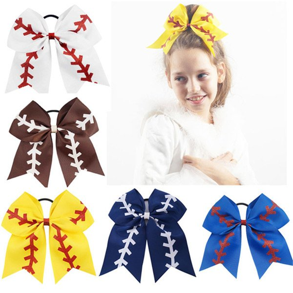 """7"""" Large Softball Team Baseball Cheer Bows Handmade Yellow Ribbon and Red Glitter Stiches with Ponytail Hair Holders for Cheerleading FJ367"""
