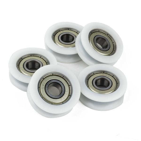 Нейлон пластиковые встроенные 608 U ПАЗ шарикоподшипник направляющий ролик шкив 8 * 30 * 10 мм для ящиков алюминиевые двери окна