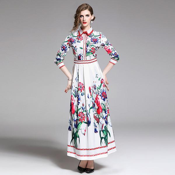 Nova moda feminina vestido de impressão Slim posicionamento vestidos 8809