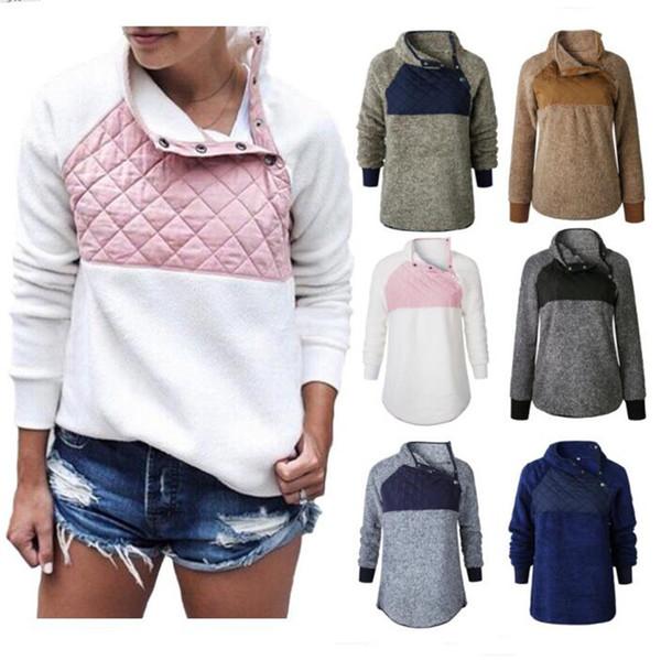 S-3XL Women Patchwork Sherpa Pullover Soft Plush Hoodie Button Skew Collar Top Coats Fleece Sweatshirt Winter Autumn Outwear Clothing C92706