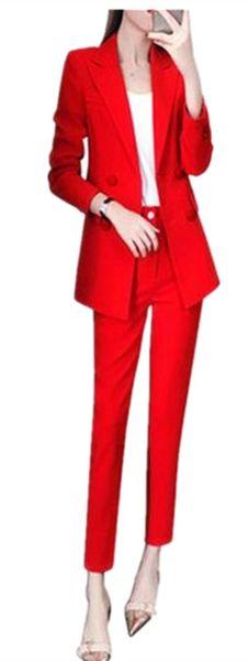 Custom Made Red Women Pantsuits Work Pant Suits OL 2 Piece Sets Women Blazer(Jacket+Pant Suit)For Set Party