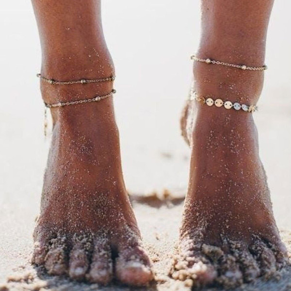 Gold Color Retro Coin Anklets For Women Vintage Yoga Beach Ankle Sequins Bracelet Sandals Brides Shoes Barefoot Gifts