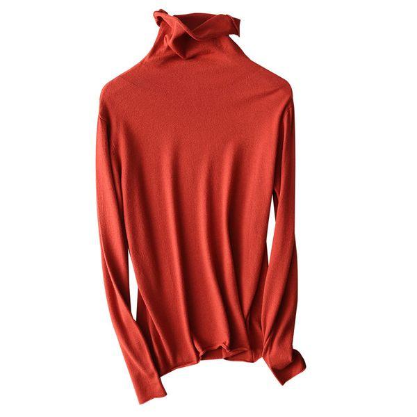 Maglioncino da donna Maglione a collo alto maglioncino Maglioncino sottile a maniche lunghe T-shirt lavorata a maglia tinta unita. Taglie forti