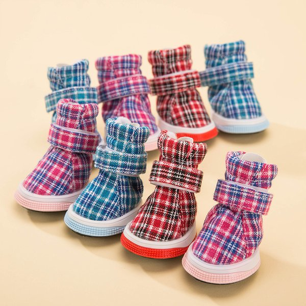 Plaid Warm dog shoes Waterproof Non-Slip pet shoes for Small Puppies Breeds cat autumn and winter snow boot Accessories 4pcs/lot