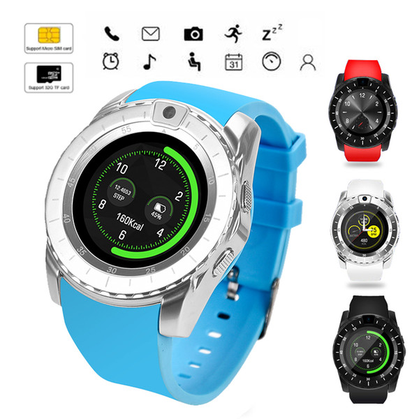 V8s Smart Watch Männer Bluetooth Sportuhren Frauen Smartwatch mit Kamera Sim Kartensteckplatz Android Phone PK DZ09 Y1 A1