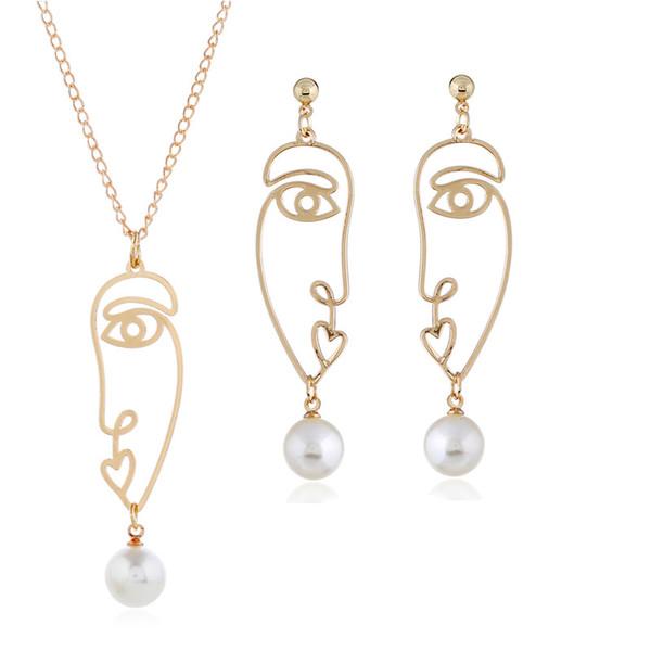 Hueco de oro cara de la gente colgante collar pendientes conjunto perlas cuelgan pendientes ajustable collar mujeres joyería de moda conjuntos regalo