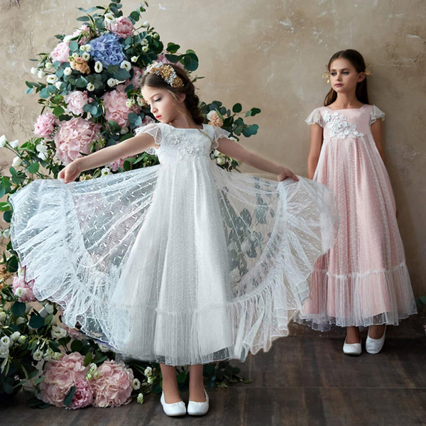 2019 New Beach Flower Girl Dresses Kids Birthday Party Communion Princess Pageant Gown For Little Girls With lace Applique
