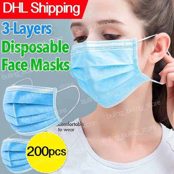 dhl shipping disposable face masks anti-dust dustproof 3-layer ply protective non-woven disposable elastic mouth soft breathable safety face