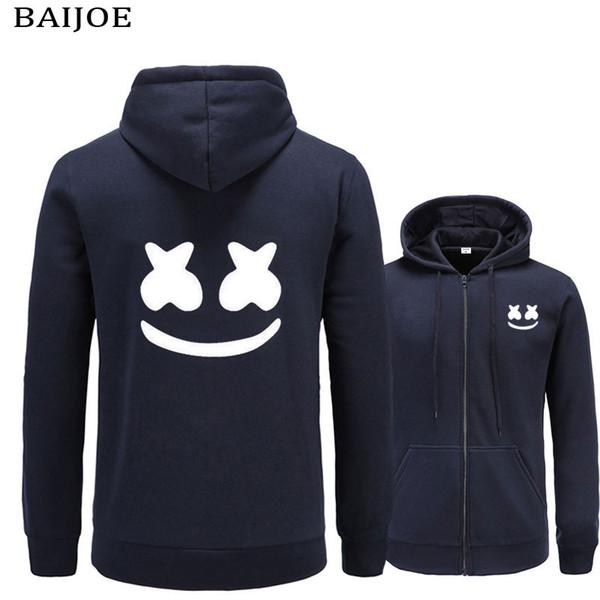 BAIJOE 2017 Nova marca marshmello rosto Hoodies homens Casual Slim Fit Hoodies Camisola Sportswear Masculino Jaqueta de Lã Com Capuz