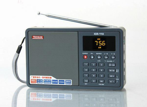 Free Shipping TECSUN ICR-110 radio FM/AM TF Card MP3 Player Recorder Radio (upgrade version of ICR-100)